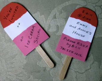 Popsicle Invitations with Vellum Envelopes
