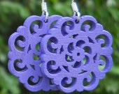 FREE SHIPPING. Wooden Filigree Flower Cut Outs Earrings in Purple