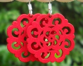 FREE SHIPPING. Wooden Filigree Flower Cut Outs Earrings in Red