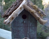 Sage Green Rustic Country Birdhouse - Free Shipping in US