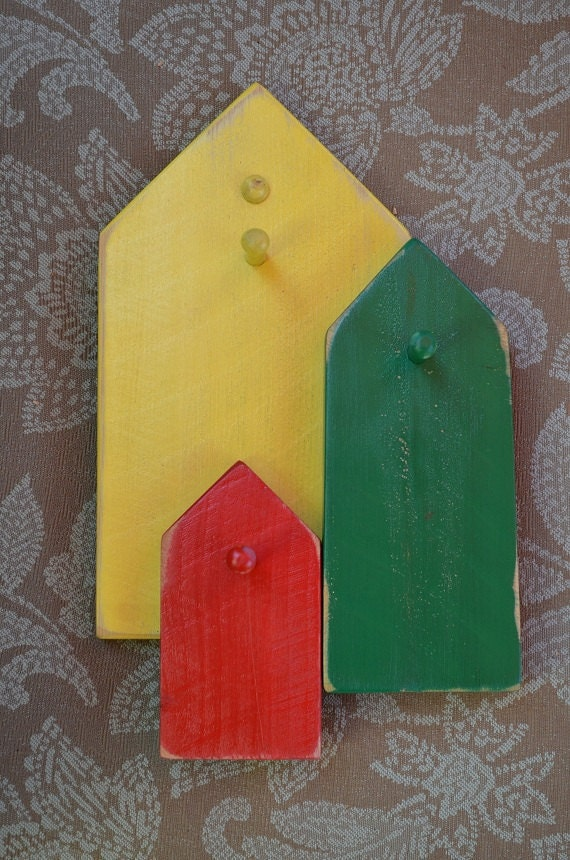 Colorful Key Tree, Wall Art, Red, Green, Yellow, Jewelry Display, Bright Art Nouveau Home Accent