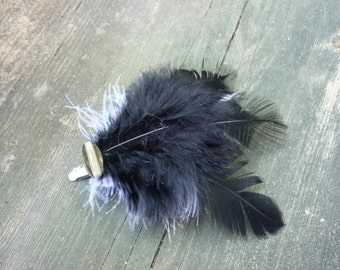Black and White Feather Hair Clip