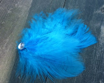 Blue Feather Hair Clip