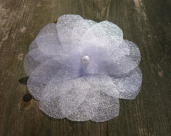 White Tulle Flower Hair Clip