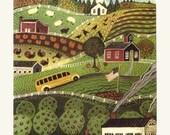 Charming Primitive AUTUMN LANDSCAPE -  October Air - an Original Signed Folk Art Print by Wendy Presseisen- Pumpkins,Schoolbus,Turkeys
