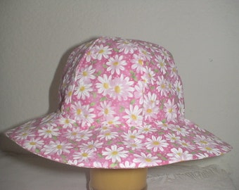 Baby And Toddler Sunhat Pink With White Daisies