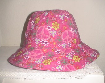 Baby And Toddler Sun Hat Pink Peace And Flowers