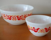 Vintage Set of 2 Pyrex Friendship Pattern Mixing Bowls : 403, 2.5 QT and 407, 1.5 pt Reserved for Dianne