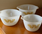SALE: Set of 3 Mid-Century Atomic Era Vintage Milk Glass Mixing Bowls Featuring Stars and or Snowflakes
