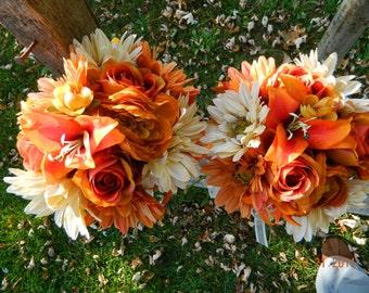 Orange & Ivory Wedding Bouquet Set