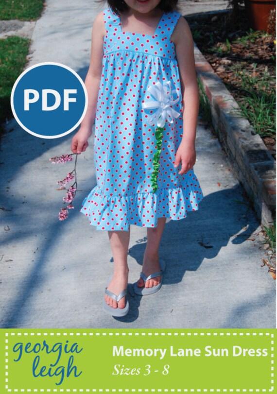 Memory Lane Sun Dress PDF pattern sz 3-8