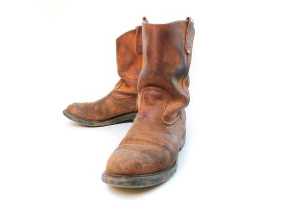 sz 10 wing pecos boots vintage pull on work by