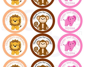 Safari Jungle Zoo Animals Mix and Match 2.5 inch circle Cupcake toppers or tags Printable Personalized Digital File DIY