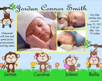 Monkey family Jungle Safari Zoo Birth Baby Photo Announcement Boy Girl Custom Personalized Digital File, DIY Printable File