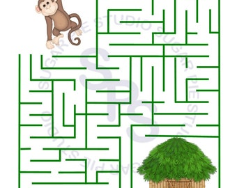 Safari Jungle Monkey Any theme Printable Personalized Activity sheet party favor  Digital Printable DIY file