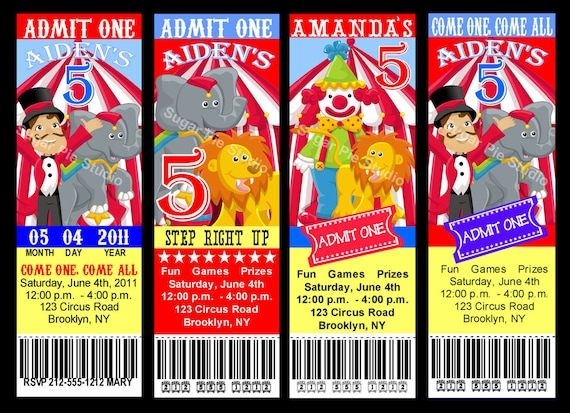 circus carnival theme ticket style invitation birthday party, Birthday invitations