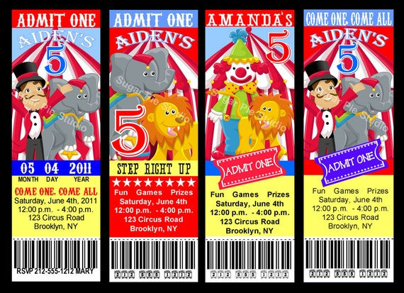 circus carnival theme ticket style invitation birthday party