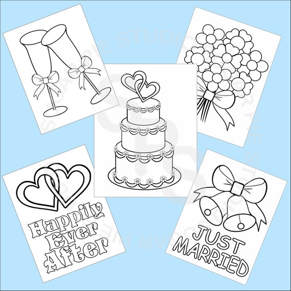 wedding coloring pages pdf - 5 printable wedding favor kids coloring pages pdf or jpeg file