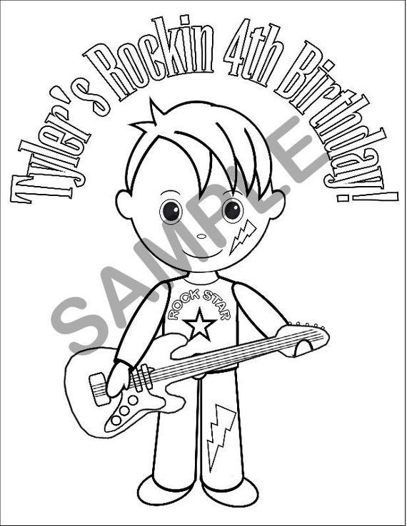 rockstar coloring pages printables | Personalized Printable Boy Rockstar Birthday by SugarPieStudio