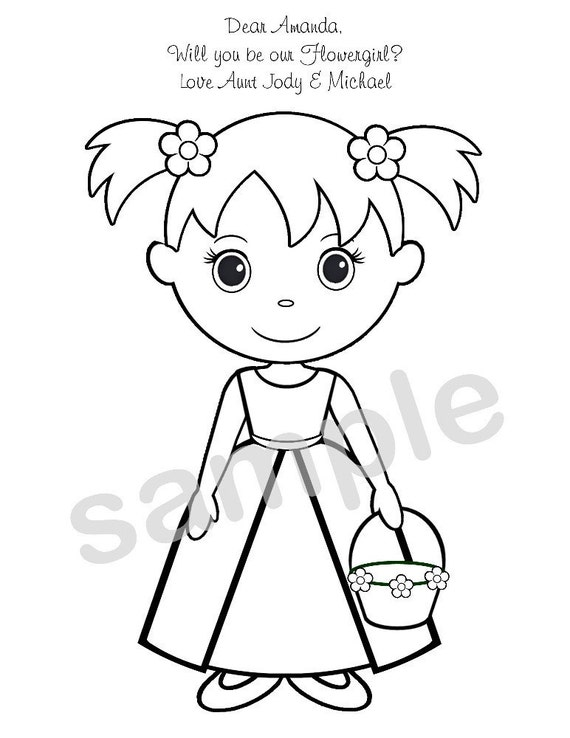 Wedding Coloring Pages Pdf : Personalized printable flowergirl wedding party by
