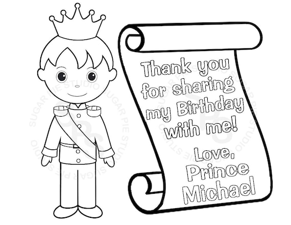 Personalized Printable Princess Prince Knight Scroll Birthday Personalized Happy Birthday Coloring Pages