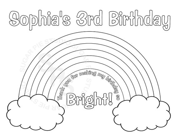 Rainbow Coloring Pages Pdf : Personalized printable rainbow birthday party by