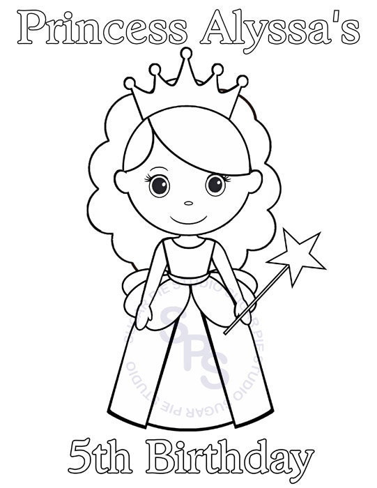 Personalized Printable Princess Birthday Party Favor Childrens Happy Birthday Princess Coloring Pages Printable