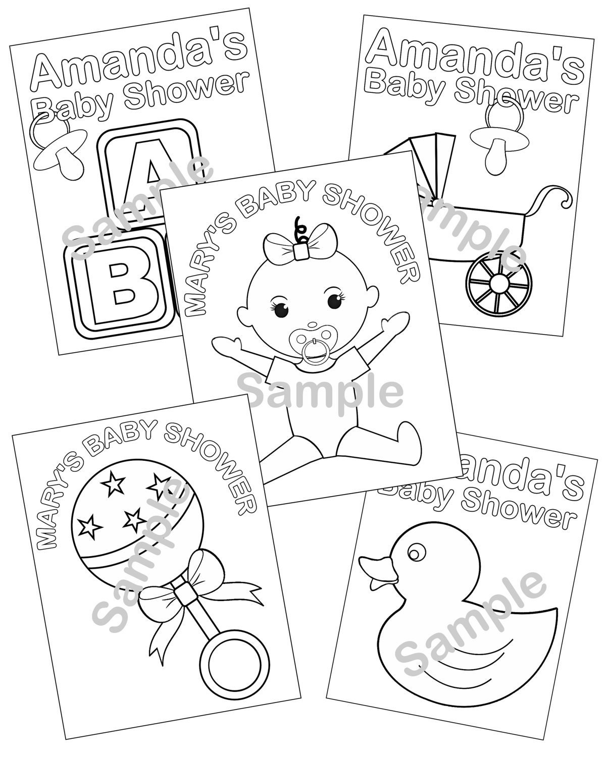 Free baby shower coloring pages for kids - Details Listing Is For 5 Personalized Printable Baby Shower Coloring