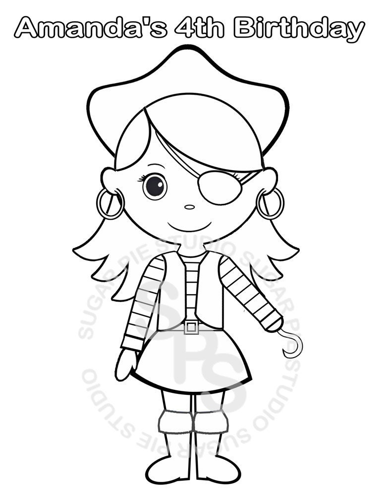 Personalized Printable Pirate Girl