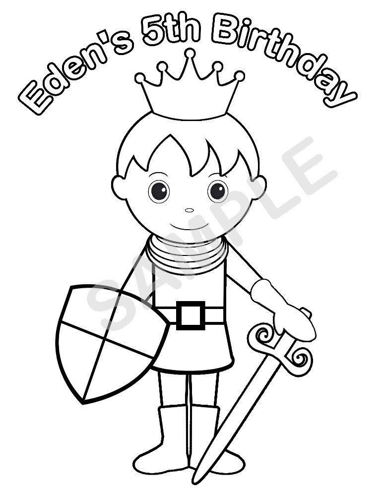 Personalized Printable Princess Prince Knight Birthday Party