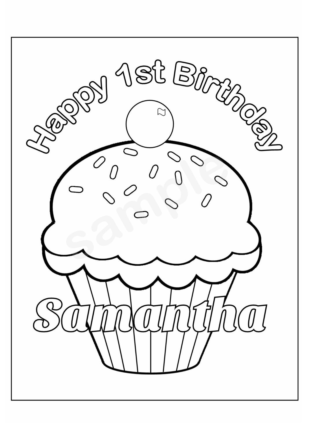personalized birthday coloring pages | Personalized Printable Birthday Cupcake cup cake by ...