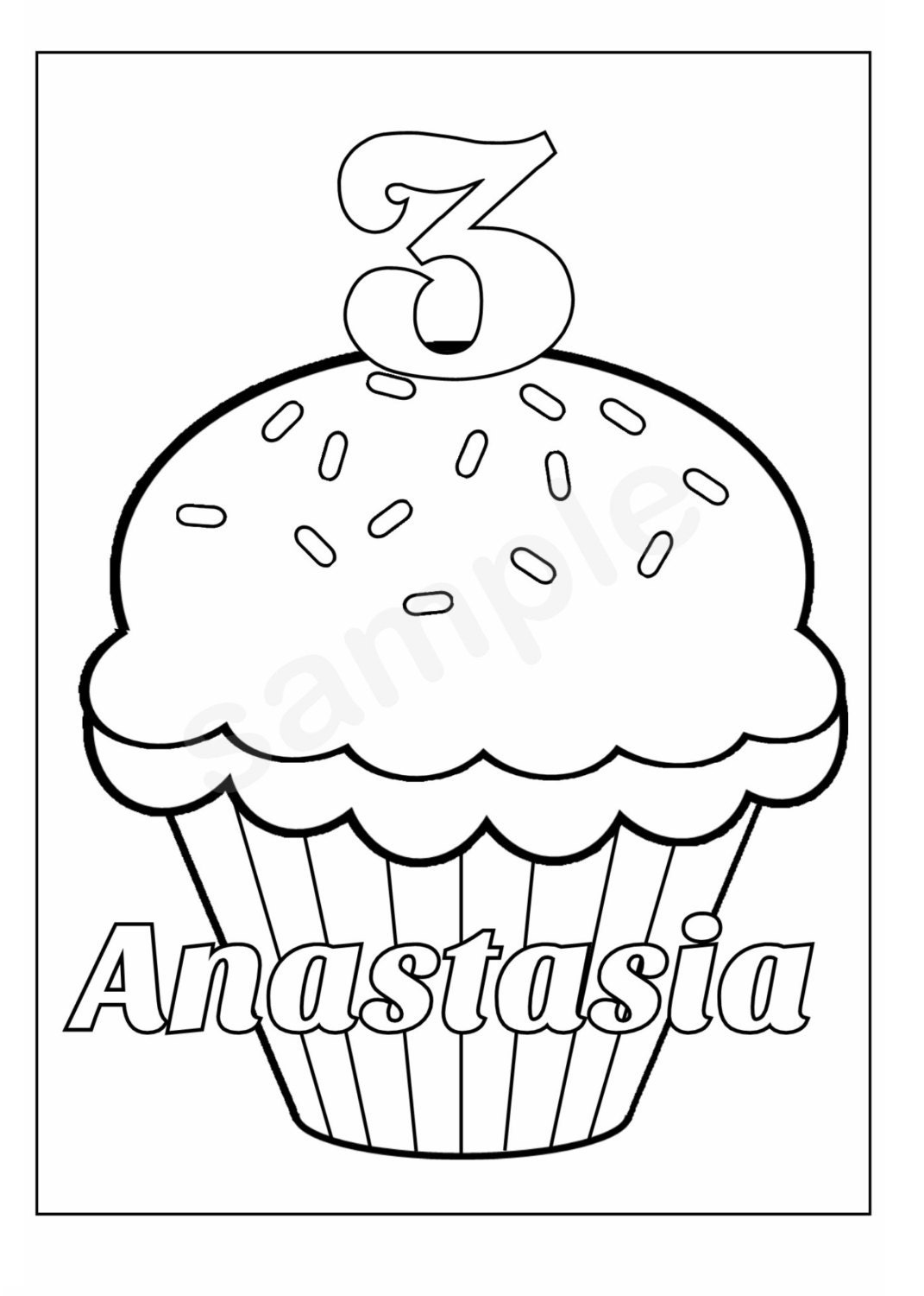 Personalized Printable Birthday Cupcake Cup Cake Party Favor