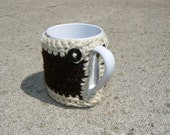 Brown and Cream Mug Cozy with Button Closure