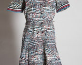 Vintage C&A Crazy Patterned Button Down Dress - c.1970s- Medium