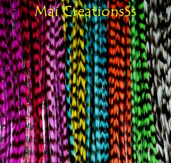 33 Mix Grizzly Feather Extensions with BEADS