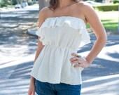 Organic Hemp/Silk Ruffle Blouse, White- Large