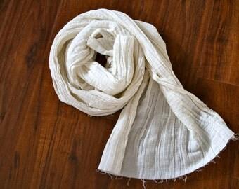 Hemp/Silk Crepe Scarf-  White
