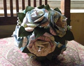 Map Paper Rose Bridal / Bridesmaids Bouquet with Cherry Laurel leaves