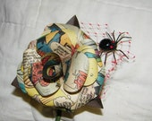 Vintage Spiderman Comic Book  Boutonniere with spider and web accent