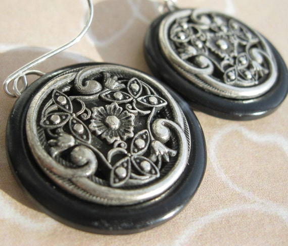 Vintage Button Earrings Handmade in Victorian Floral Design Dangle Drop