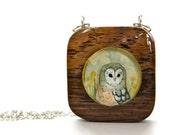 Wooden owl necklace, hand painted, illustrated pastel owl necklace,under 50 for women