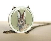 Watership down inspired rabbit necklace, bunny jewelry, woodland animal jewelry, original artwork
