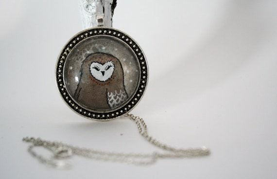 I am such a sleepy owl- hand painted necklace