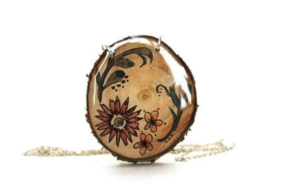 floral spring flower wooden slice necklace -hand painted floral necklace