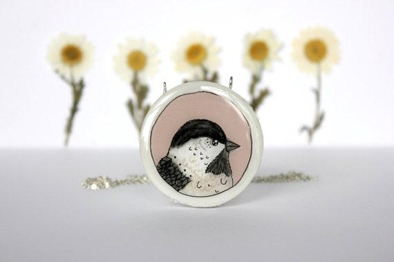 chickadee bird necklace- hand painted pink chickadee bird necklace- hand painted necklace