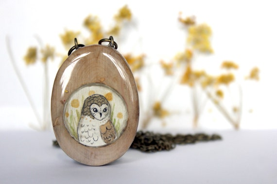 wooden owl necklace, hand painted pendant- circle geometric necklace- modern jewelry -winery wood