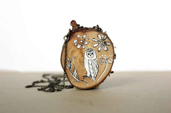 floral owl necklace- hand painted wooden necklace -