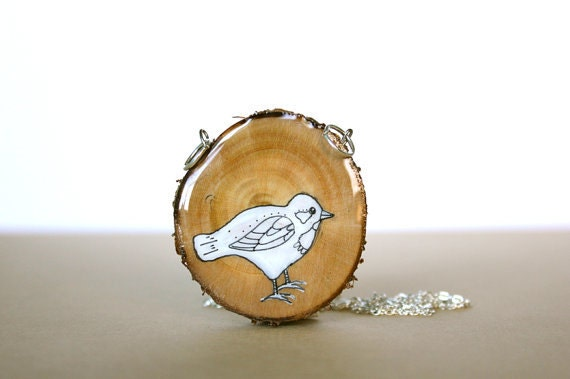 spring fashion bird necklace- hand painted white bird necklace- wood slice necklace