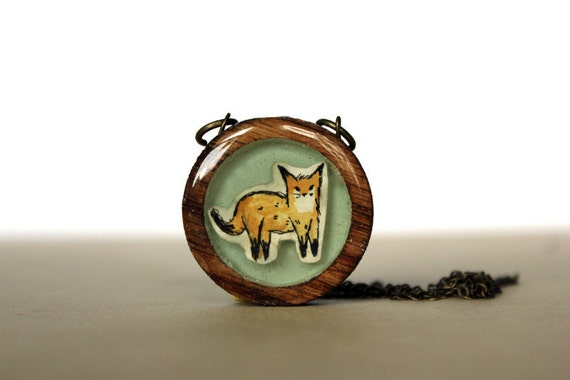 spring fashion fox Necklace - Wooden hand painted necklace