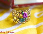 Dulcinea del Toboso Red, Aqua, Yellow & Purple Vintage Style Floral Ring